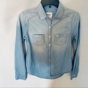 Abercrombie Kids Girls Shirt Chambray Sz L Collar